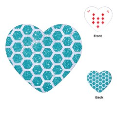Hexagon2 White Marble & Turquoise Glitter Playing Cards (heart)  by trendistuff