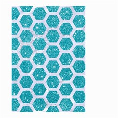 Hexagon2 White Marble & Turquoise Glitter Small Garden Flag (two Sides) by trendistuff