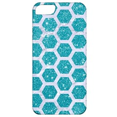 Hexagon2 White Marble & Turquoise Glitter Apple Iphone 5 Classic Hardshell Case