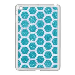 Hexagon2 White Marble & Turquoise Glitter Apple Ipad Mini Case (white)