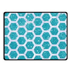 Hexagon2 White Marble & Turquoise Glitter Double Sided Fleece Blanket (small)  by trendistuff