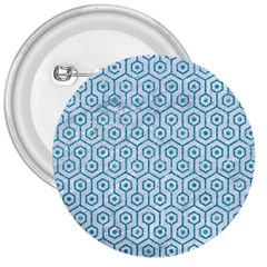 Hexagon1 White Marble & Turquoise Glitter (r) 3  Buttons