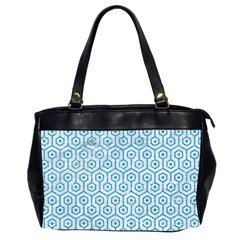 Hexagon1 White Marble & Turquoise Glitter (r) Office Handbags (2 Sides)  by trendistuff