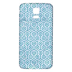 Hexagon1 White Marble & Turquoise Glitter (r) Samsung Galaxy S5 Back Case (white) by trendistuff