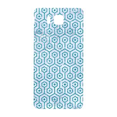 Hexagon1 White Marble & Turquoise Glitter (r) Samsung Galaxy Alpha Hardshell Back Case by trendistuff