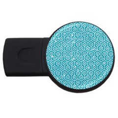 Hexagon1 White Marble & Turquoise Glitter Usb Flash Drive Round (4 Gb) by trendistuff
