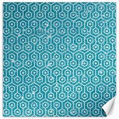 Hexagon1 White Marble & Turquoise Glitter Canvas 20  X 20   by trendistuff