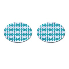 Diamond1 White Marble & Turquoise Glitter Cufflinks (oval) by trendistuff
