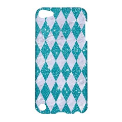 Diamond1 White Marble & Turquoise Glitter Apple Ipod Touch 5 Hardshell Case by trendistuff