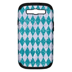 Diamond1 White Marble & Turquoise Glitter Samsung Galaxy S Iii Hardshell Case (pc+silicone) by trendistuff