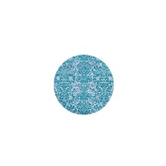 Damask2 White Marble & Turquoise Glitter (r) 1  Mini Buttons by trendistuff