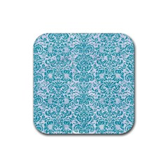 Damask2 White Marble & Turquoise Glitter (r) Rubber Square Coaster (4 Pack)  by trendistuff