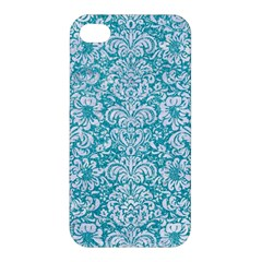 Damask2 White Marble & Turquoise Glitter Apple Iphone 4/4s Hardshell Case by trendistuff