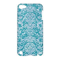 Damask2 White Marble & Turquoise Glitter Apple Ipod Touch 5 Hardshell Case by trendistuff