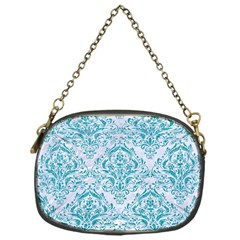 Damask1 White Marble & Turquoise Glitter (r) Chain Purses (one Side)  by trendistuff