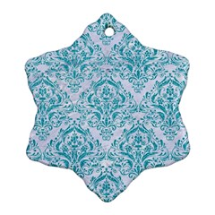 Damask1 White Marble & Turquoise Glitter (r) Ornament (snowflake) by trendistuff