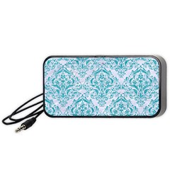 Damask1 White Marble & Turquoise Glitter (r) Portable Speaker by trendistuff