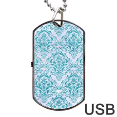 Damask1 White Marble & Turquoise Glitter (r) Dog Tag Usb Flash (one Side) by trendistuff