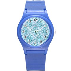Damask1 White Marble & Turquoise Glitter (r) Round Plastic Sport Watch (s) by trendistuff