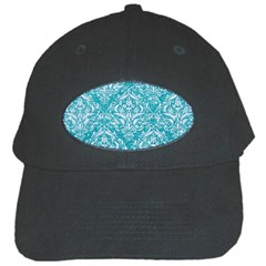 Damask1 White Marble & Turquoise Glitter Black Cap by trendistuff