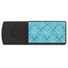 Damask1 White Marble & Turquoise Glitter Rectangular Usb Flash Drive by trendistuff