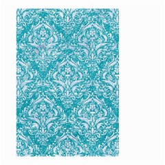 Damask1 White Marble & Turquoise Glitter Small Garden Flag (two Sides) by trendistuff