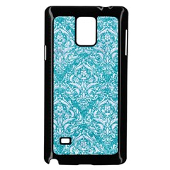 Damask1 White Marble & Turquoise Glitter Samsung Galaxy Note 4 Case (black) by trendistuff