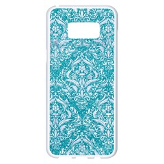 Damask1 White Marble & Turquoise Glitter Samsung Galaxy S8 Plus White Seamless Case by trendistuff
