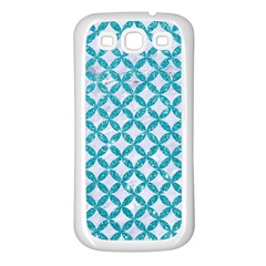 Circles3 White Marble & Turquoise Glitter (r) Samsung Galaxy S3 Back Case (white) by trendistuff