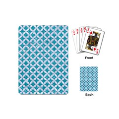 Circles3 White Marble & Turquoise Glitter Playing Cards (mini)  by trendistuff