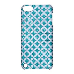 Circles3 White Marble & Turquoise Glitter Apple Ipod Touch 5 Hardshell Case With Stand by trendistuff
