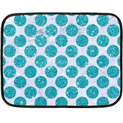 Circles2 White Marble & Turquoise Glitter (r) Double Sided Fleece Blanket (mini)  by trendistuff