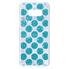 Circles2 White Marble & Turquoise Glitter (r) Samsung Galaxy S8 Plus White Seamless Case by trendistuff
