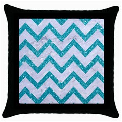 Chevron9 White Marble & Turquoise Glitter (r) Throw Pillow Case (black) by trendistuff