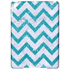 Chevron9 White Marble & Turquoise Glitter (r) Apple Ipad Pro 9 7   Hardshell Case by trendistuff