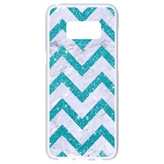 Chevron9 White Marble & Turquoise Glitter (r) Samsung Galaxy S8 White Seamless Case by trendistuff
