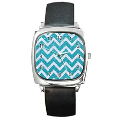 Chevron9 White Marble & Turquoise Glittere Glitter Square Metal Watch by trendistuff
