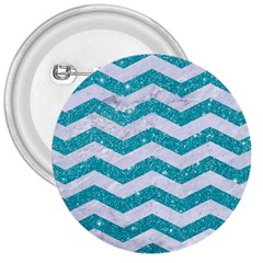Chevron3 White Marble & Turquoise Glitter 3  Buttons