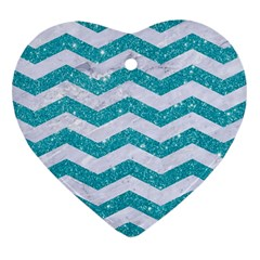 Chevron3 White Marble & Turquoise Glitter Heart Ornament (two Sides) by trendistuff