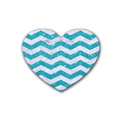 Chevron3 White Marble & Turquoise Glitter Heart Coaster (4 Pack)  by trendistuff