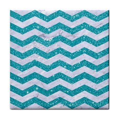 Chevron3 White Marble & Turquoise Glitter Face Towel by trendistuff