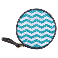 Chevron3 White Marble & Turquoise Glitter Classic 20 Cd Wallets by trendistuff