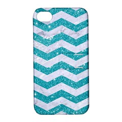 Chevron3 White Marble & Turquoise Glitter Apple Iphone 4/4s Hardshell Case With Stand by trendistuff
