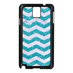 Chevron3 White Marble & Turquoise Glitter Samsung Galaxy Note 3 N9005 Case (black)
