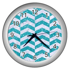 Chevron2 White Marble & Turquoise Glitter Wall Clocks (silver)  by trendistuff