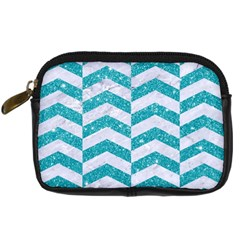 Chevron2 White Marble & Turquoise Glitter Digital Camera Cases by trendistuff