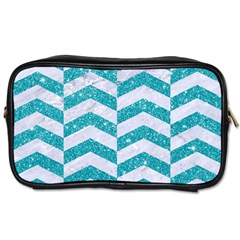 Chevron2 White Marble & Turquoise Glitter Toiletries Bags 2 Side by trendistuff