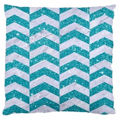 Chevron2 White Marble & Turquoise Glitter Large Cushion Case (two Sides)