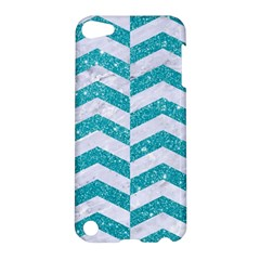 Chevron2 White Marble & Turquoise Glitter Apple Ipod Touch 5 Hardshell Case