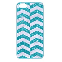Chevron2 White Marble & Turquoise Glitter Apple Seamless Iphone 5 Case (color) by trendistuff